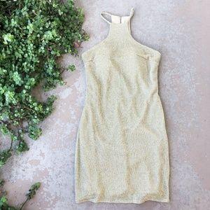 Ieena MacDuggal Gold Sheath Halter Dress